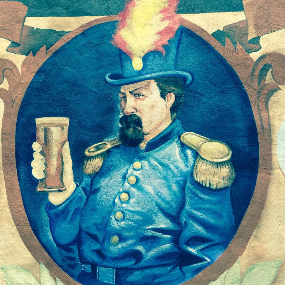Detail of mural, 2014, by Andrei Bouzikof, at Emperor Norton's Boozeland, San Francisco.  Located in the rear garden. Photograph:  Emperor Norton's Boozeland . For a more complete view of the mural, click  here .