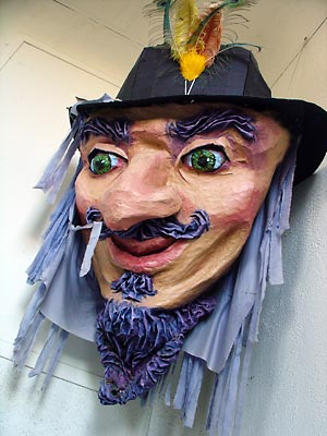 Head of Emperor Norton puppet, 1997, by Mona Caron.  For 1997 San Francisco Carnival parade. Source:  Mona Caron .