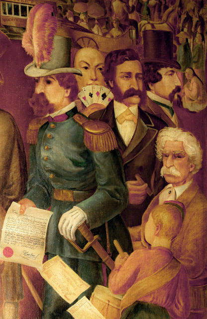 Detail from mural, c. 1930s, by Antonio Sotomayor (1904-1985).  Located in the Happy Valley Room of the Palace Hotel, San Francisco, the mural depicts Emperor Norton, Mark Twain, Bret Harte and other San Francisco notables of that period. Photograph  ©  2011  Scott Cox .