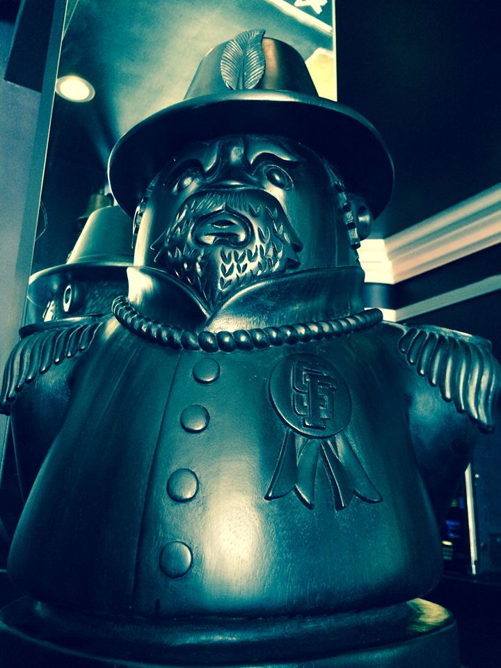 """Emperor Norton"" (2012), by Jeremy Fish (b. 1974).  Located in the ""upper room"" at Emperor Norton's Boozeland, San Francisco. Photograph:  Emperor Norton's Boozeland ."