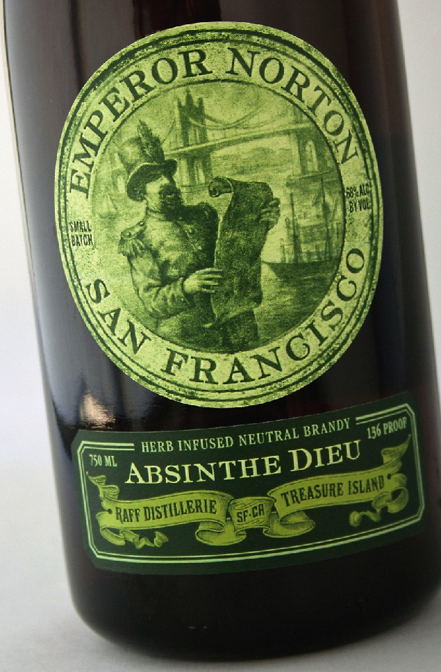 Label design, 2012, for Raff Distillerie's Emperor Norton Absinthe Dieu, by Austin Design Group.   ©  2012 Austin Design Group. Source:  Austin Design Group .