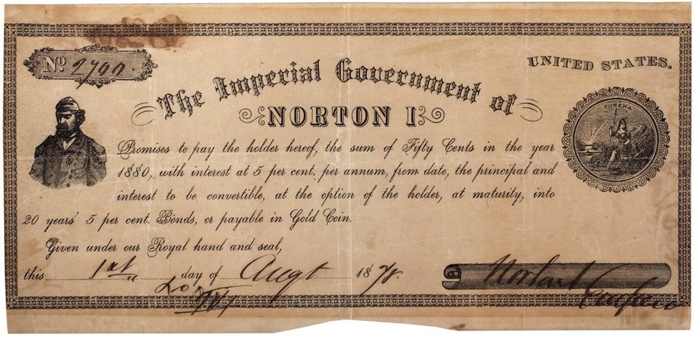 Emperor Norton bond for 50 cents, signed and dated 1 August 1878.  The bond features the same engraving of the Emperor that appeared on all his bonds dating to at least 1871. (To view an 1871 bond that is in the collection of the Wells Fargo Museum, click  here .) Source:  iCollector .