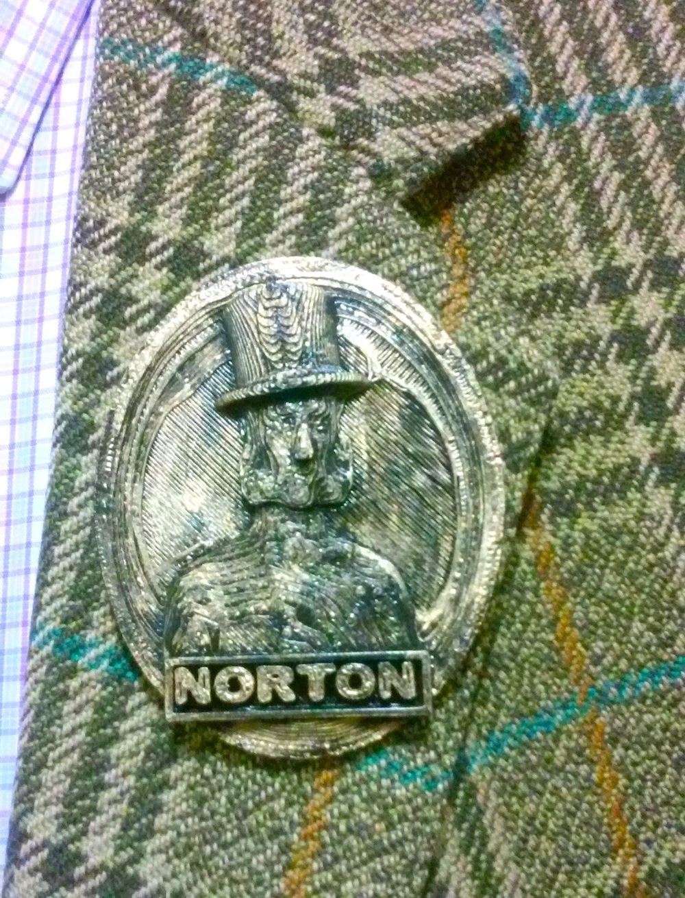 Suiting up. Campaign president John Lumea was joined at the San Francisco History Association Dinner by Campaign board members Joseph Amster and Kristian Akseth. Board member Aaron Almanza was  present in the form of this Emperor Norton pin that he made recently. The pin was on Lumea's lapel throughout the evening. (Almanza's Nortoning miniature is featured in the Sculptures & Fabrications gallery of the Campaign's ARENA: Archive of Emperor Norton in Art, Music & Film.)