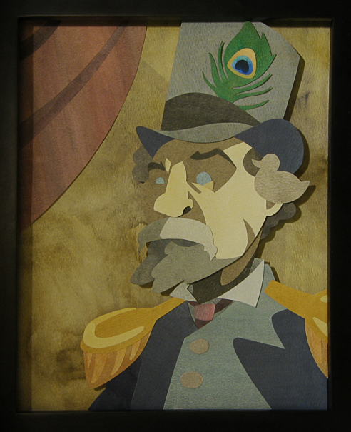 """Emperor Norton I"" (2009), by Dan Barrett.  Cut and pasted watercolor paper.  ©  2009 Dan Barrett. Source:  Deviant Art ."