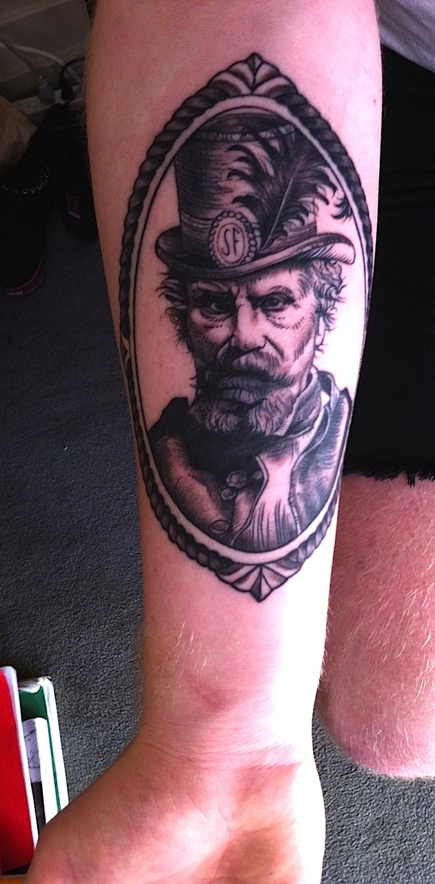 Emperor Norton tattoo, 2011, by Angel Saunders.  Source:  Fyeahtattoos .
