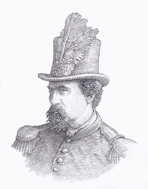 Emperor Norton, 2014, by Mike Gray (b. 1948).  Illustration for logo of the documentary-in-progress,   Norton the First  .  ©  2014 Mike Gray. Source: Jesse Chandler.