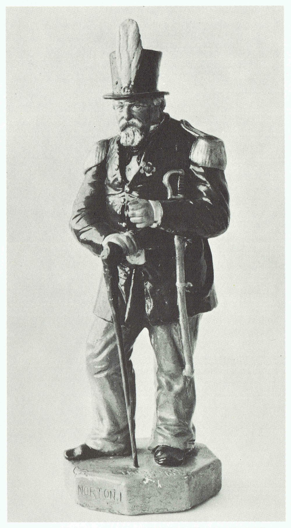 Emperor Norton figurine, plaster, c. 1875.  Collection of the Wells Fargo HIstory Museum, San Francisco. Source:  The Forgotten Characters of Old San Francisco  (The Ward Richie Press, 1964).