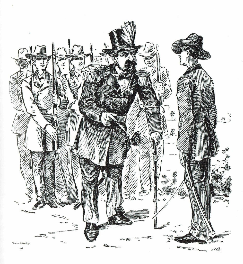 "Emperor Norton, Reviewing the University Battalion at Berkeley  (1892), by Solly Walter (1846-1900).  This originally appeared as an illustration for Francis E. Sheldon's article, ""Street Characters of San Francisco,"" in  The Overland Monthly  of May 1892. Original article:  Making of America . Image: Richard Schwartz,  Eccentrics, Heroes, and Cutthroats of Old Berkeley  (RSB Books, 2007)."