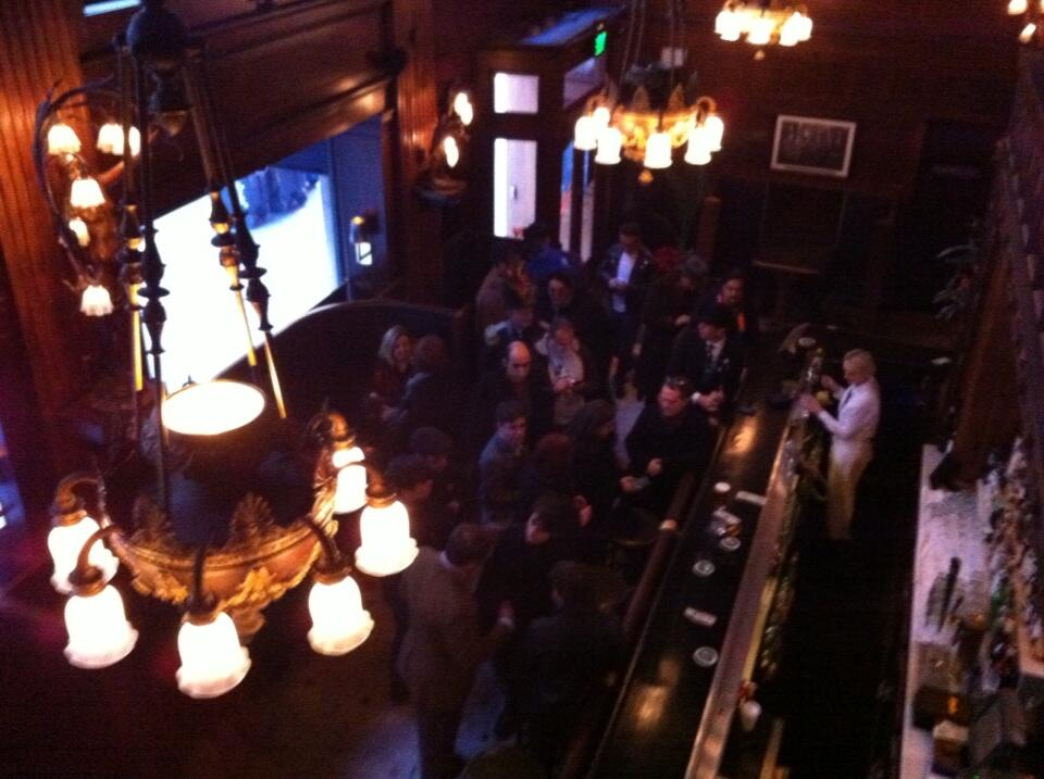 View from the mezzanine as guests arrive for the First Annual Tannenbaum Toast at The House of Shields, San Francisco, in December 2013.