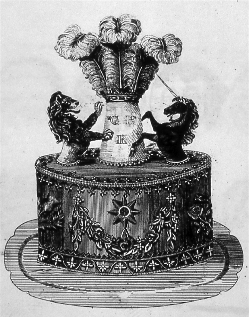 In 1817 — the year before Emperor Norton was born — Joseph Bell, a confectioner in York, England,  published, in his Treatise of Confectionery, this illustration of a cake honoring the Prince of Wales. Source: Food History Jottings.