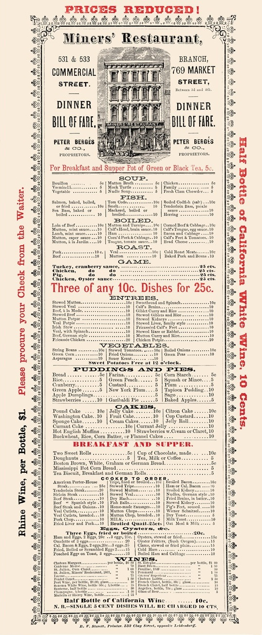 Menu from the Miners' Restaurant, San Francisco, 1875. From the Henry Voigt Collection of American Menus. Source: Love Menu Art.