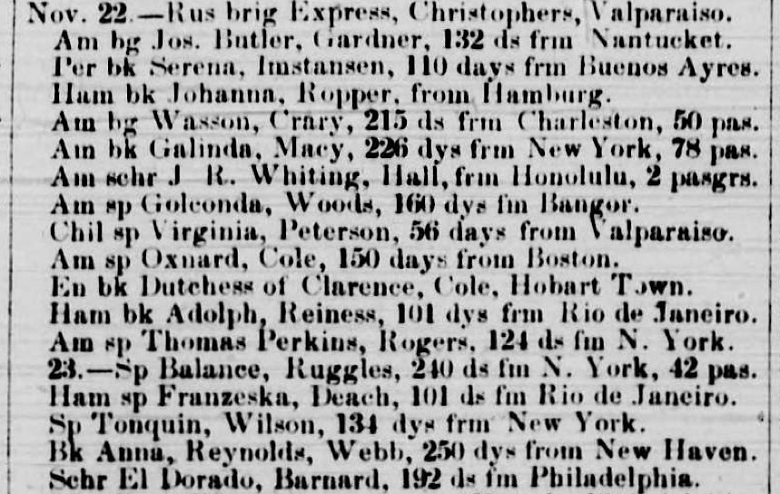 Detail of  List of Vessels in the Port of San Francisco, etc. , published in the  Weekly Alta California  newspaper  on 1 December 1849.  Source:  California Digital Newspaper Collection .