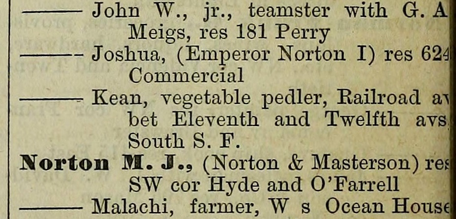 Listing for Joshua Norton in the New City Annual Directory of San Francisco, 1875, compiled and published by D.M. Bishop & Co., p. 772. Source: Internet Archive.