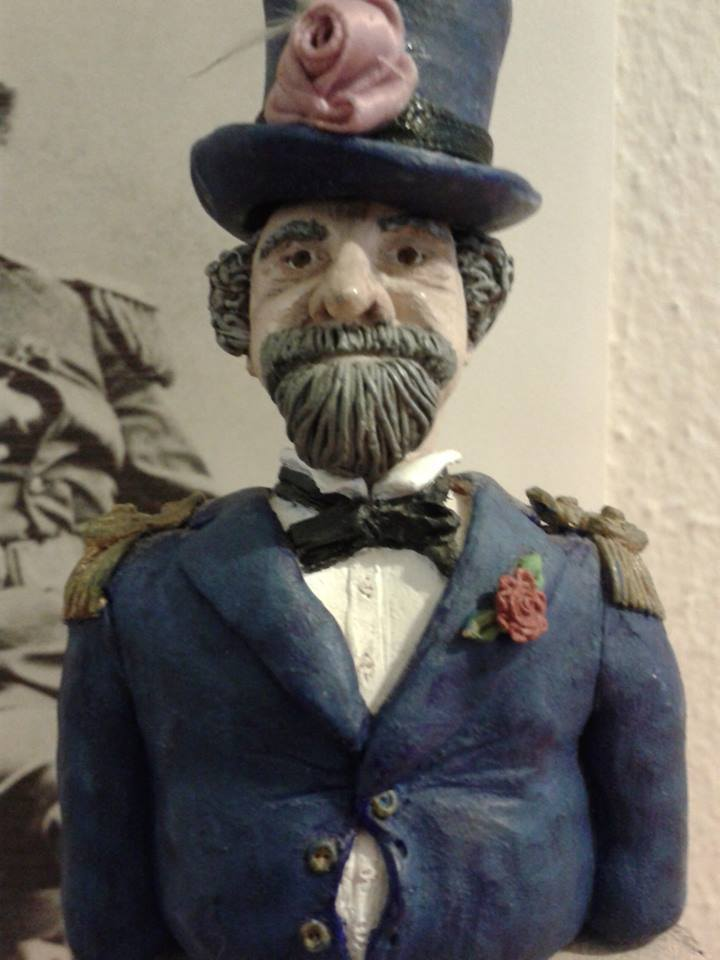 """""""Emperor Norton"""" (1982), by Karin Roper (b. 1963).  Polymer clay.  Roper created this piece at the request of her father, the late Edward Roper, a Norton fan and San Francisco and California history buff who taught middle-school history in San Francisco for 30 years. She gifted it to him on Father's Day 1982.  © 1982 Karin Roper.Photograph courtesy of Karin Roper."""