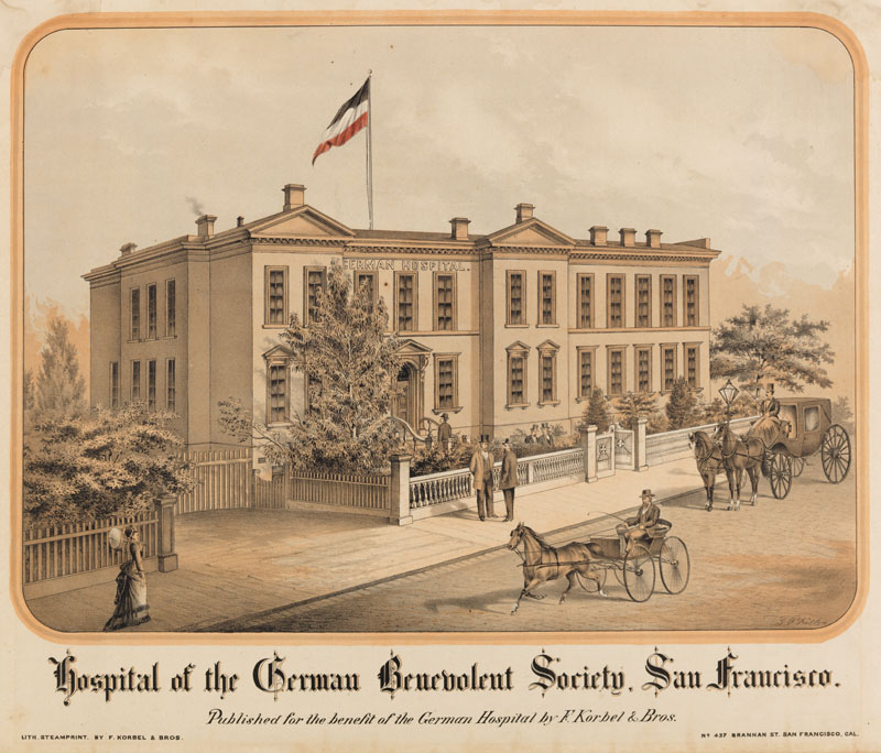 """""""Hospital of the German Benevolent Society, San Francisco,"""" c.1858 , by George F. Keller (1846–1927). Collection of the California State Library."""