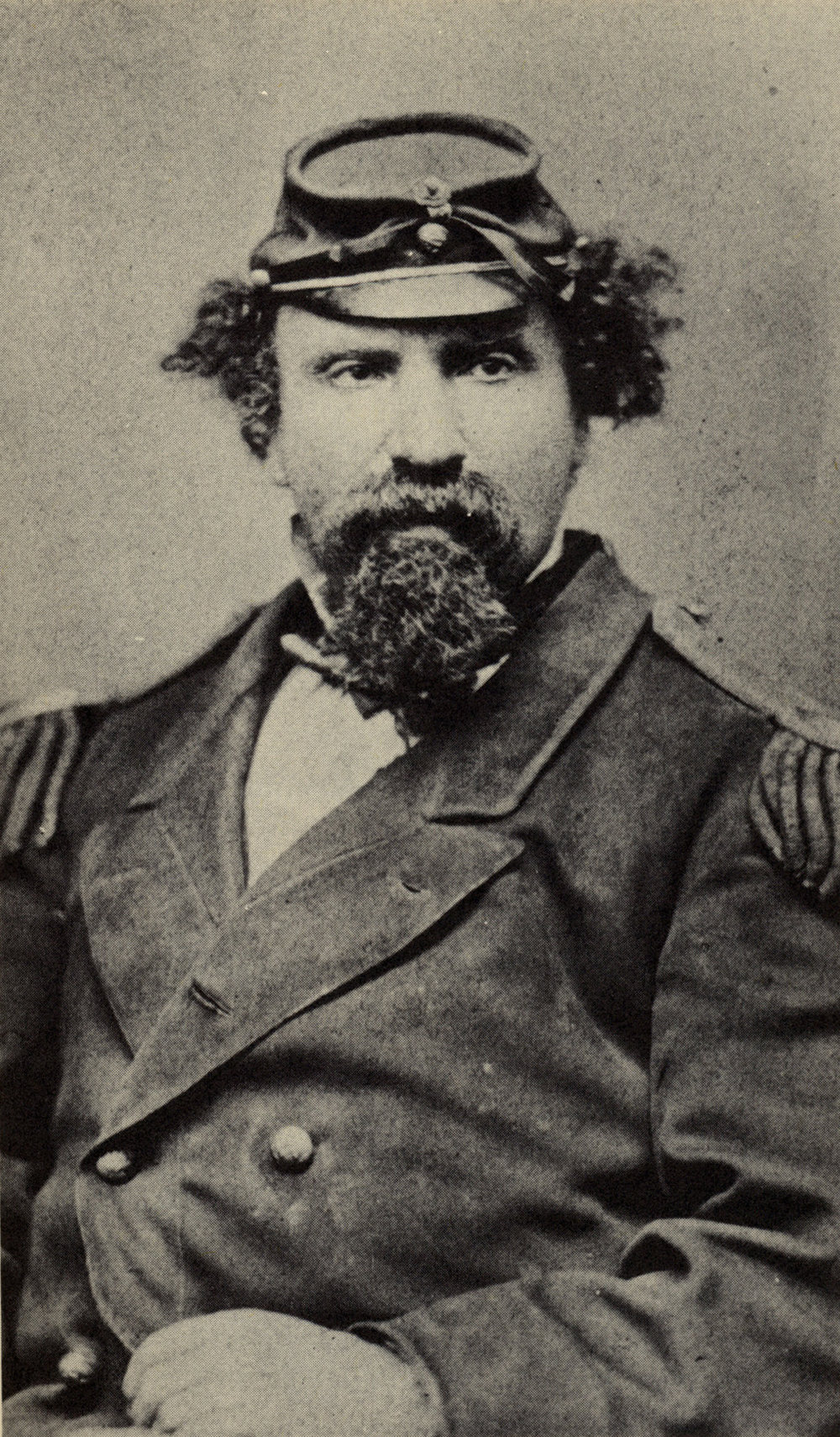"Emperor Norton, between spring 1871 and spring 1872.  From carte de visite by Tuttle & Johnson studio, 523 Kearny Street, ""Heliographic Artists."" Collection of the California Historical Society."