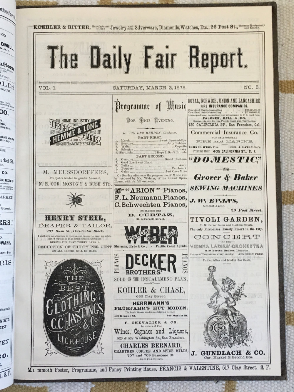 Front page of  The Daily Fair Report,  vol. 1, no. 5,  Saturday, March 2, 1878.  The  Report  was a souvenir paper produced during the German Ladies Fair held in San Francisco from 26 February to 5 March 1878, to help raise money for the building of a new German Hospital in San Francisco after the previous German Hospital was destroyed in a fire. Image courtesy of Scott Brown of Eureka Books, in Euke, Calif.