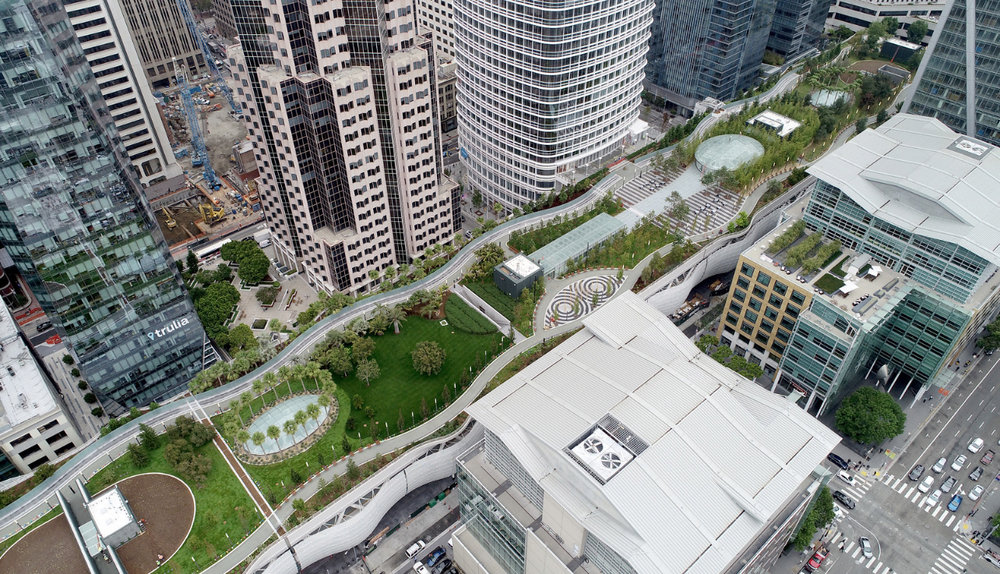 Transbay Transit Center and Park.  Drone view on 8 August 2018. ©  2018  Jane Tyska / Bay Area News Group .