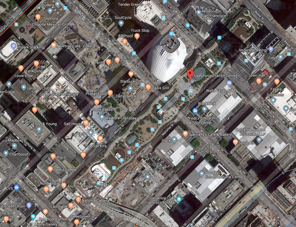 Transbay (Salesforce) Transit Center.  Screen cap of Google Maps satellite view.