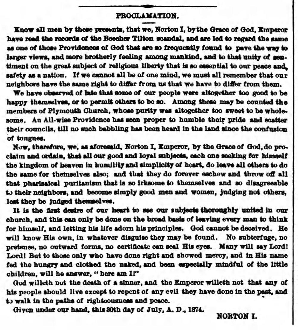"""Proclamation,"" Norton I, in  Common Sense , vol. 1, no. 12., 1 August 1874, p.146.  Source:  Google Books ."
