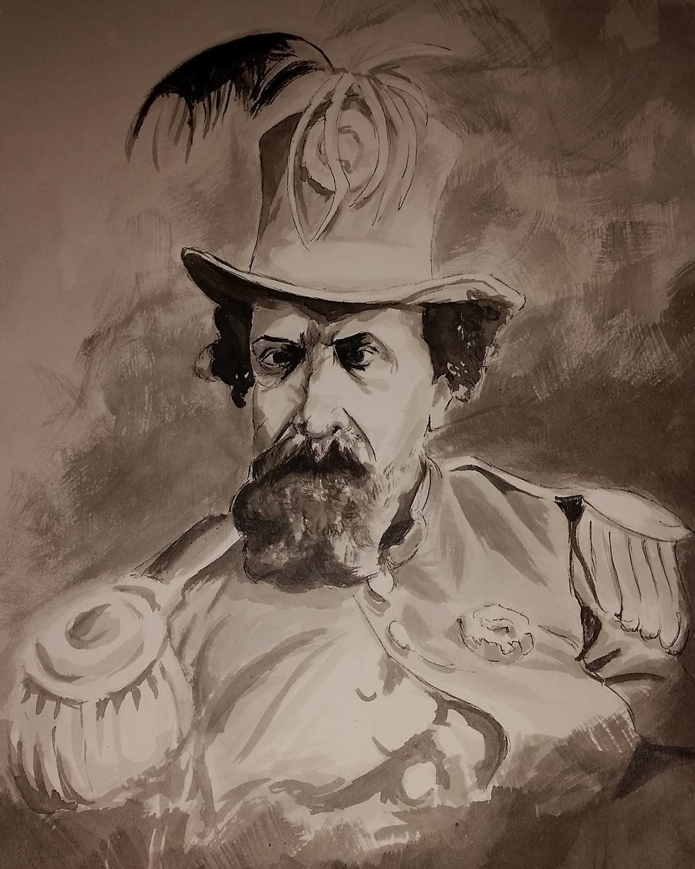 """His Imperial Majesty, Norton I"" (2016), by Anna Papkov (b.1981).  Ink on watercolor paper, 14"" x 20"". ©2016 Anna Papkov. Source:  Anna Papkov ."