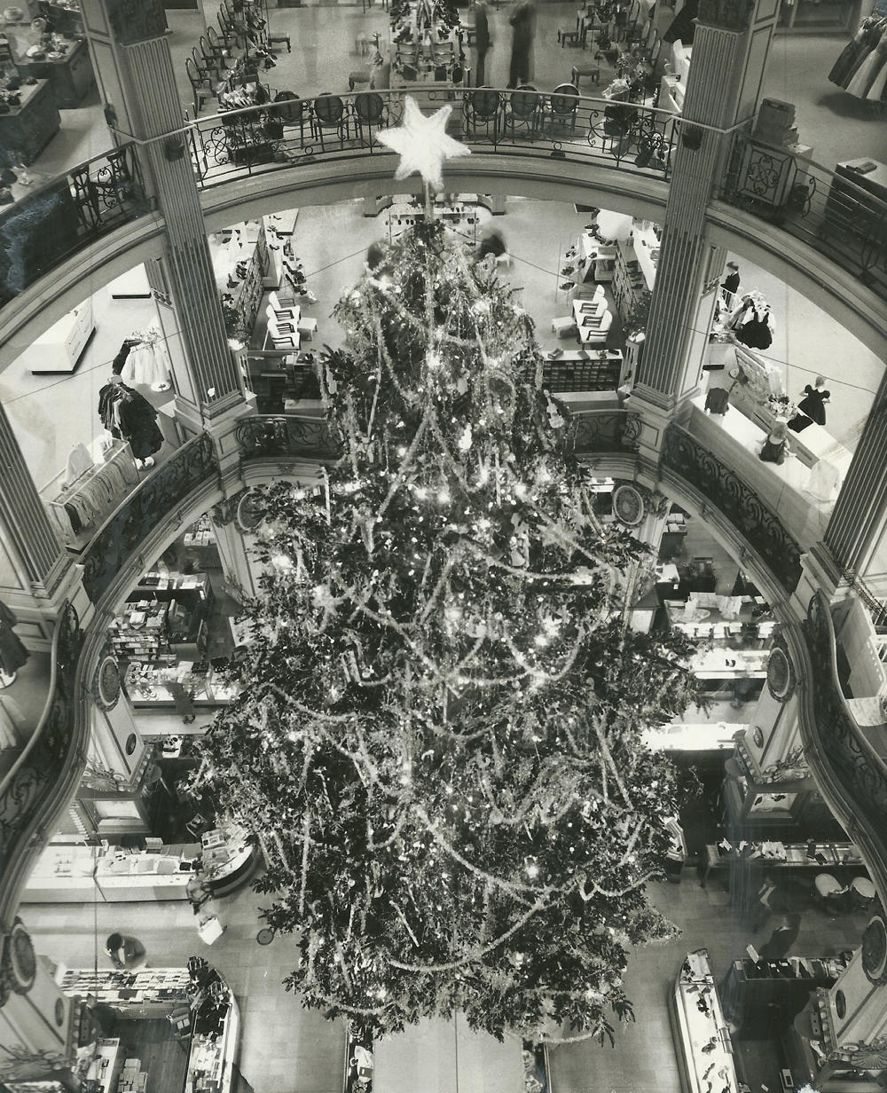 Christmas tree at City of Paris department store, 23 November 1959.  Photograph © San Francisco Chronicle (Gordon Peters). Source:  San Francisco Chronicle