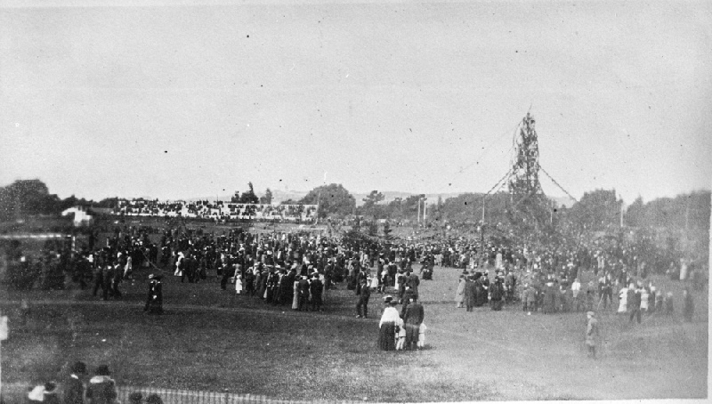 Christmas tree celebration in Golden Gate Park Stadium, Christmas Day 1912  — the first outdoor municipal tree in San Francisco. Possibly a detail from a larger photograph. Marilyn Blaisdell Collection. Source:  OpenSFHistory/wnp37.04263.jpg