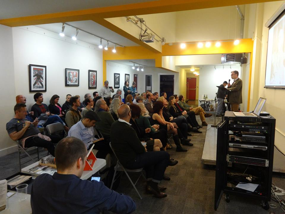 Scene from The Emperor's 197th Birthday: A Party & Presentation of Recent Findings , an event the Campaign held on 3 February 2015 at the 518 Valencia gallery/event space.