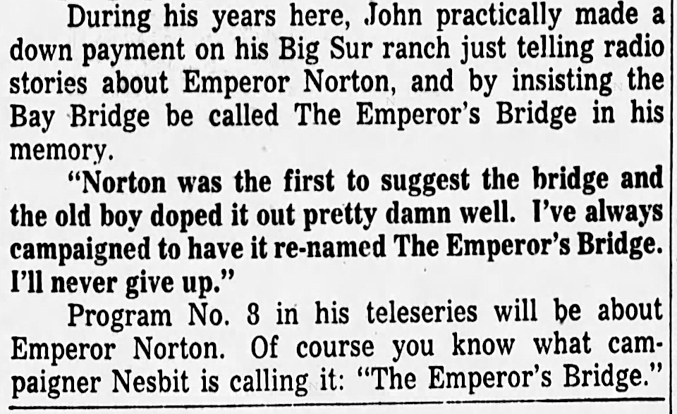 Excerpt of Dwight Newton's interview with John Nesbitt, published 10 April 1956  in the  San Francisco Examiner , p. 23. Full interview  here . Source: Newspapers.com