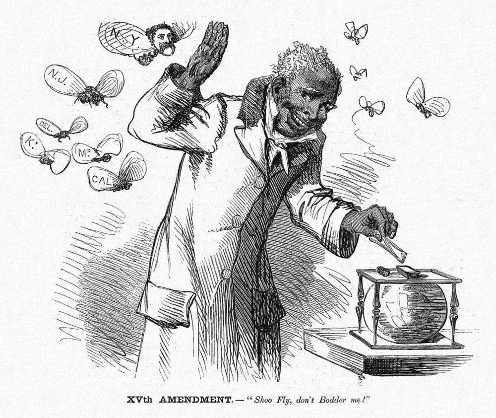 """XVth Amendment. — 'Shoo Fly, don't Bodder me!'"" Comic in  Harper's Weekly , 12 March 1870.  Source:  New York Times . In its historical note on the comic —  here  — the  Times  notes that California ""rejected the amendment for fear it would lead to an 'invasion' of Chinese. There was intense prejudice and discrimination in California against Chinese immigrants, who outnumbered blacks in the state by a ten-to-one ratio."""