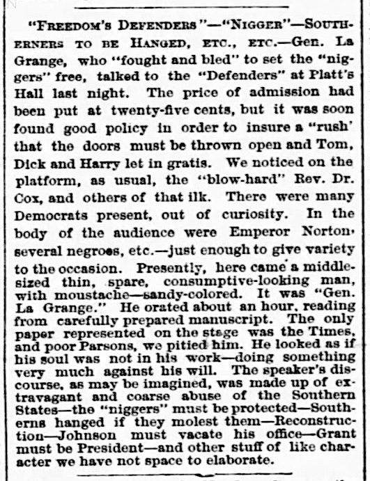 Editorial item on Order of Freedom's Defenders lecture held at Platt's Music Hall, San Francisco, on 24 March 1868.   San Francisco Examiner , 25 March 1868, p. 3. For PDF of full page, click  here . Source: Newspapers.com