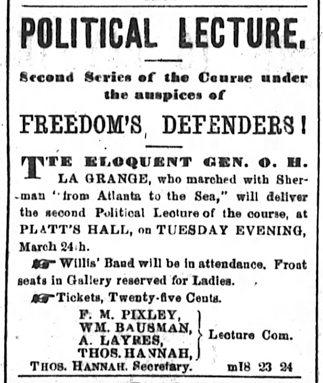 Ad for Order of Freedom's Defenders lecture held at Platt's Music Hall, San Francisco, on 24 March 1868.   San Francisco Chronicle , 24 March 1868, Source: San Francisco Public Library.