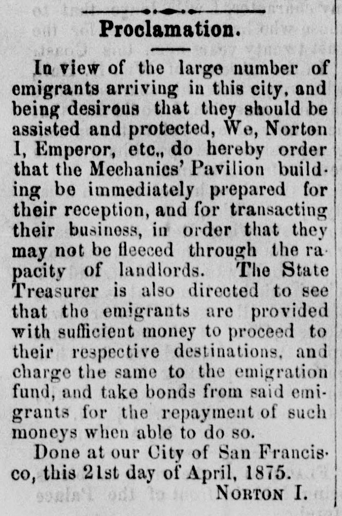 Proclamation of Emperor Norton,  Pacific Appeal , 24 April 1875 , p.2. Source:  California Digital Newspaper Collection .