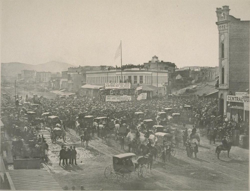 Pro-Union rally at Montgomery, Market and Post Streets, San Francisco, 22 February 1861.  Photographer unknown. Roy D. Graves Pictorial Collection at the Bancroft Library, UC Berkeley. Source:  Online Archive of California .