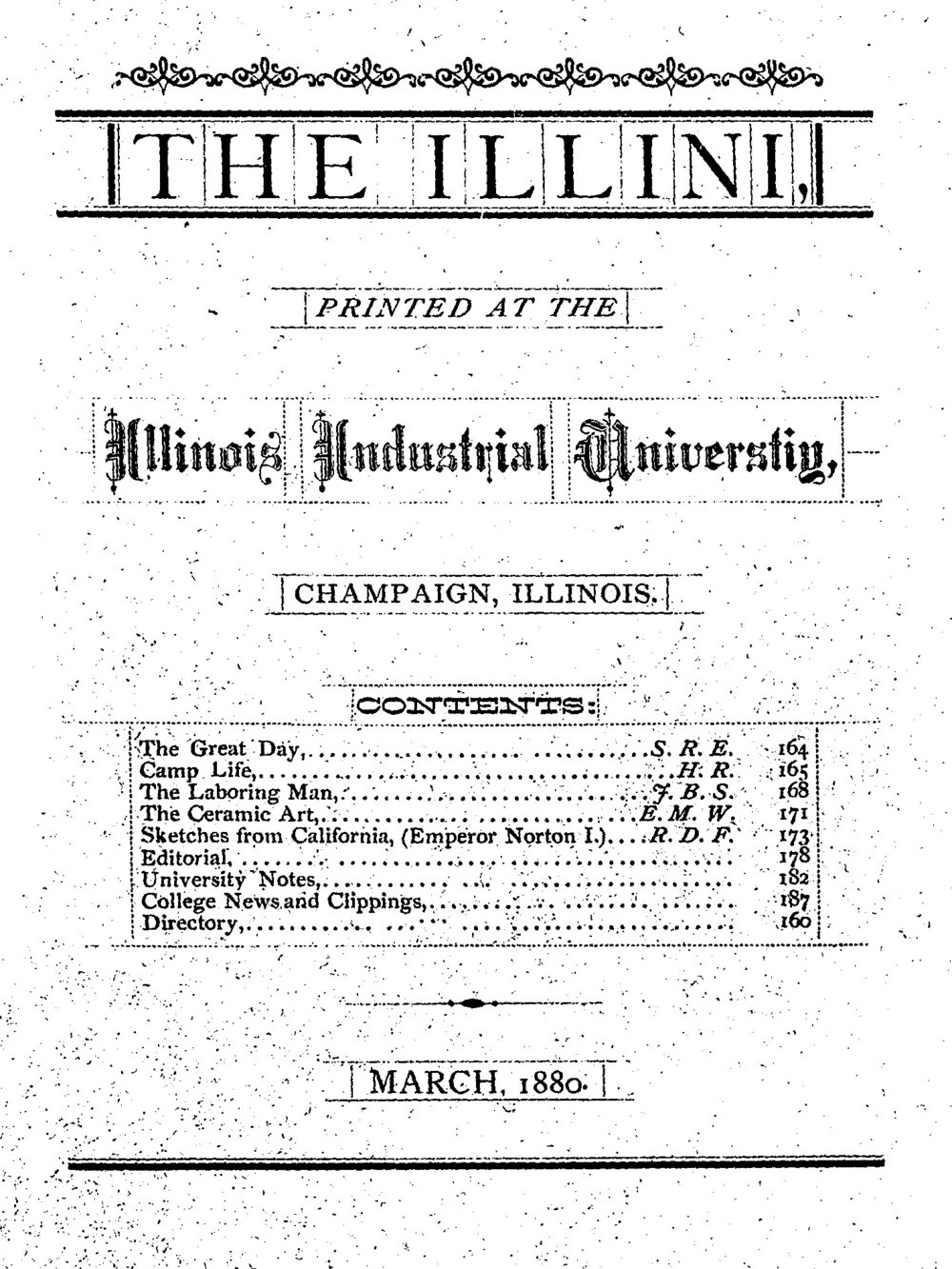 Cover page of  The Illini , volume 9, number 6, March 1880.  Source:  Illinois Digital Newspaper Collections .
