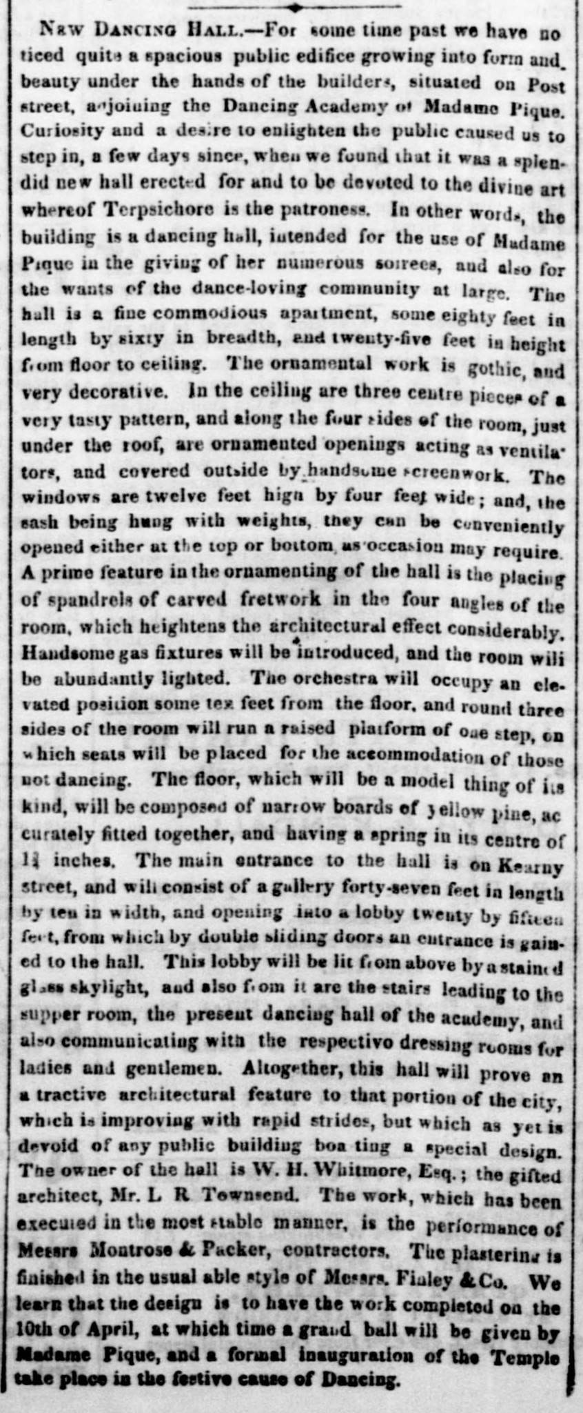 """""""New Dancing Hall,""""   Daily Alta California , 26 March 1855, p. 2. Source:  California Digital Newspaper Collection"""