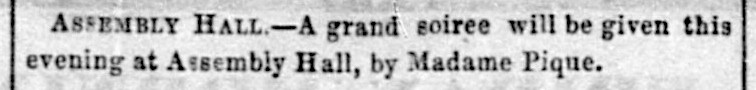 """Amusements item re grand soiree at """"Assembly Hall,""""   Daily Alta California , 1 January 1858, p. 2. Source:  California Digital Newspaper Collection"""