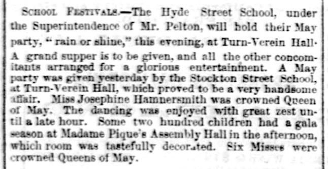 """Item noting school festival at """"Madame Pique's Assembly Hall,""""   Daily Alta California , 3 May 1859, p. 2. Source:  California Digital Newspaper Collection"""
