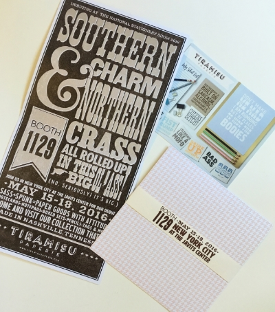 Mailer for this year's stationery show! Booth 1129!