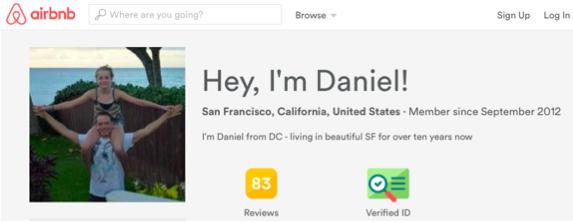 Daniel's AirBNB profile.