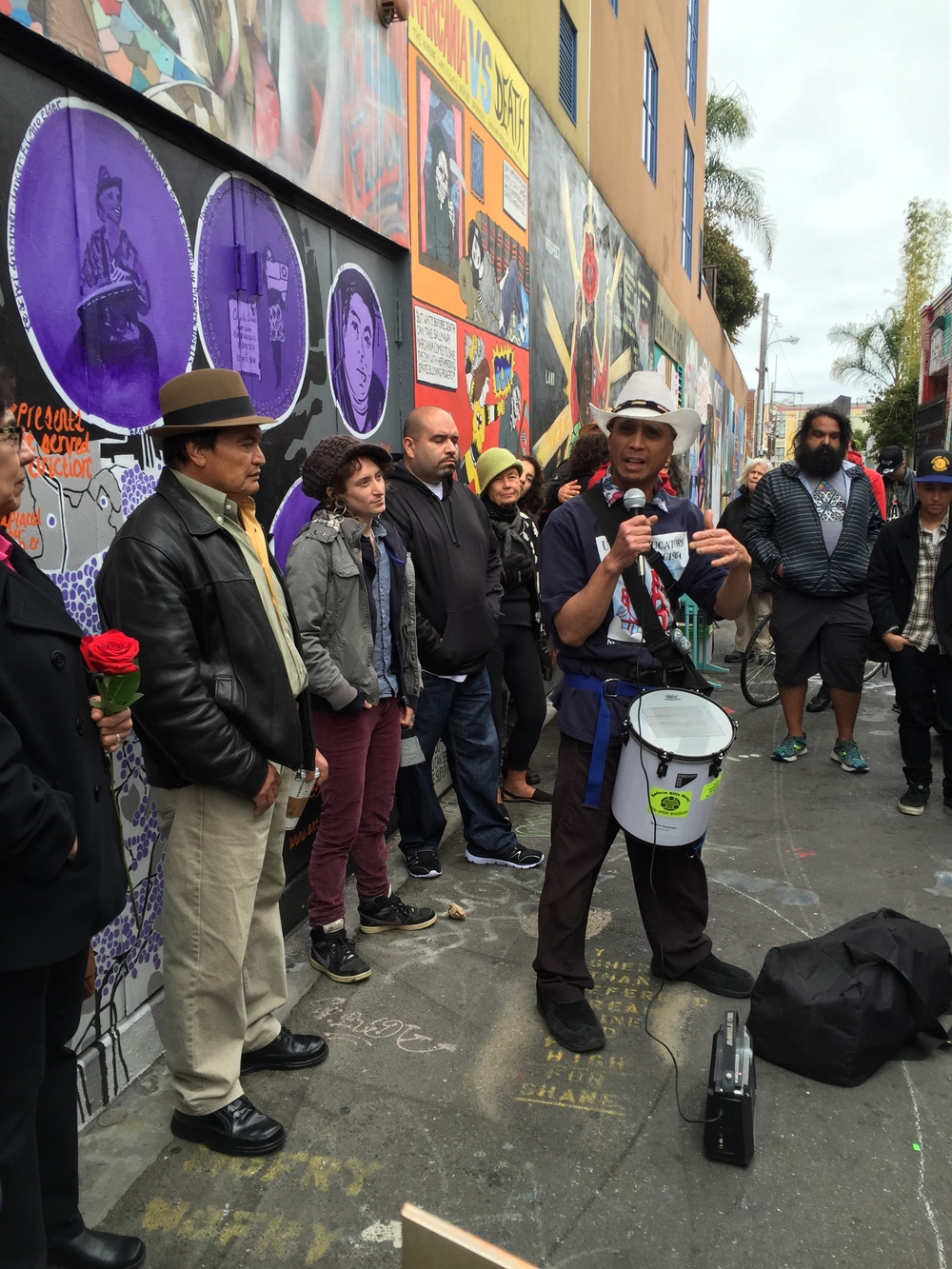 Benito Santiago leading us in protest beats at dedication ceremony