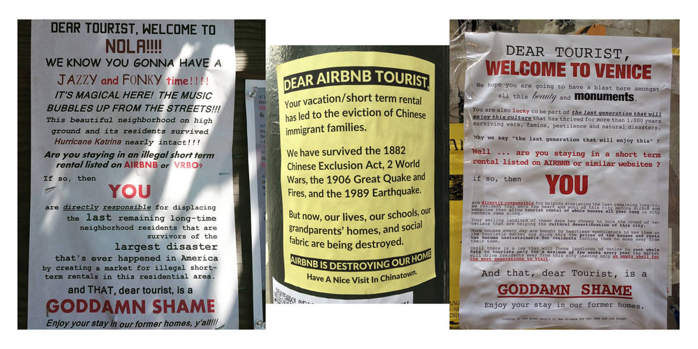 Airbnb Gentrification Protest Signs