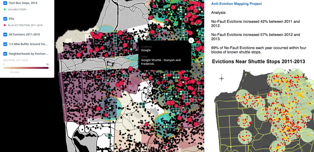 Tech Bus Stops and Evictions, SF, 2011-2018