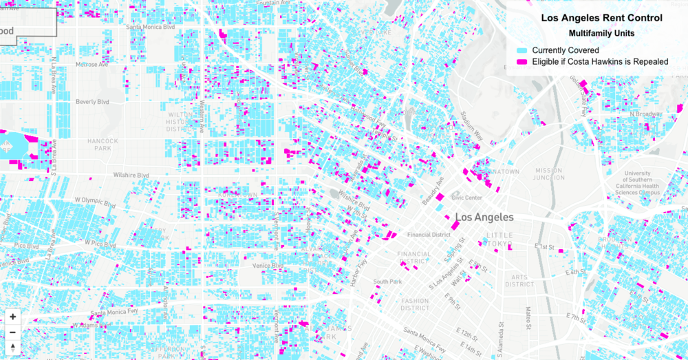 Areas in Los Angeles with rent control, and areas that will gain rent control if Costa Hawkins is repealed.