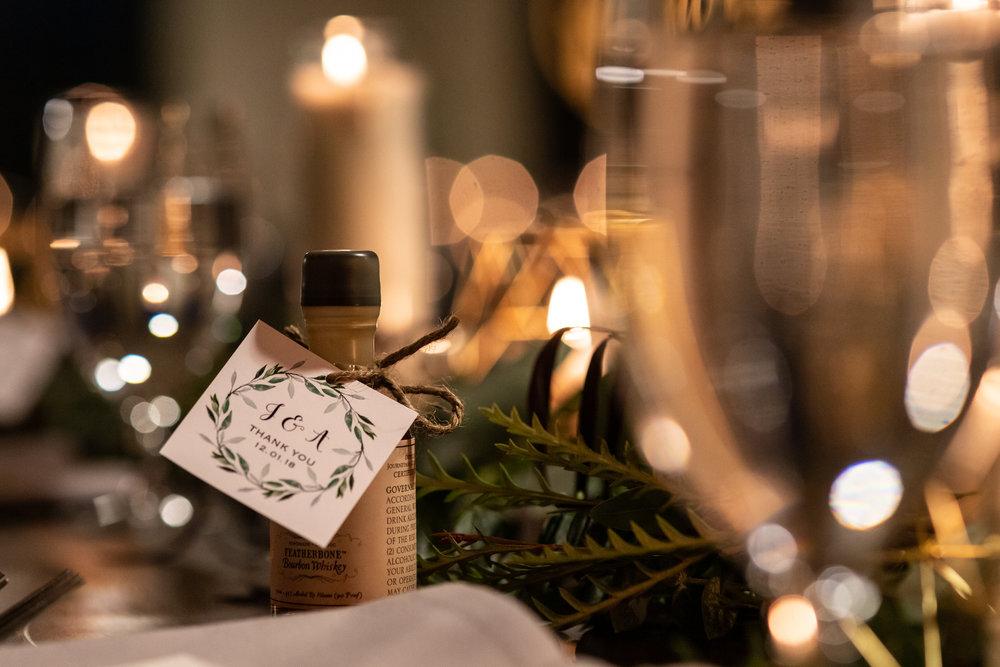 Off camera flash table details at Journeyman Distillery. Taken for Jennifer Mayo Studios.