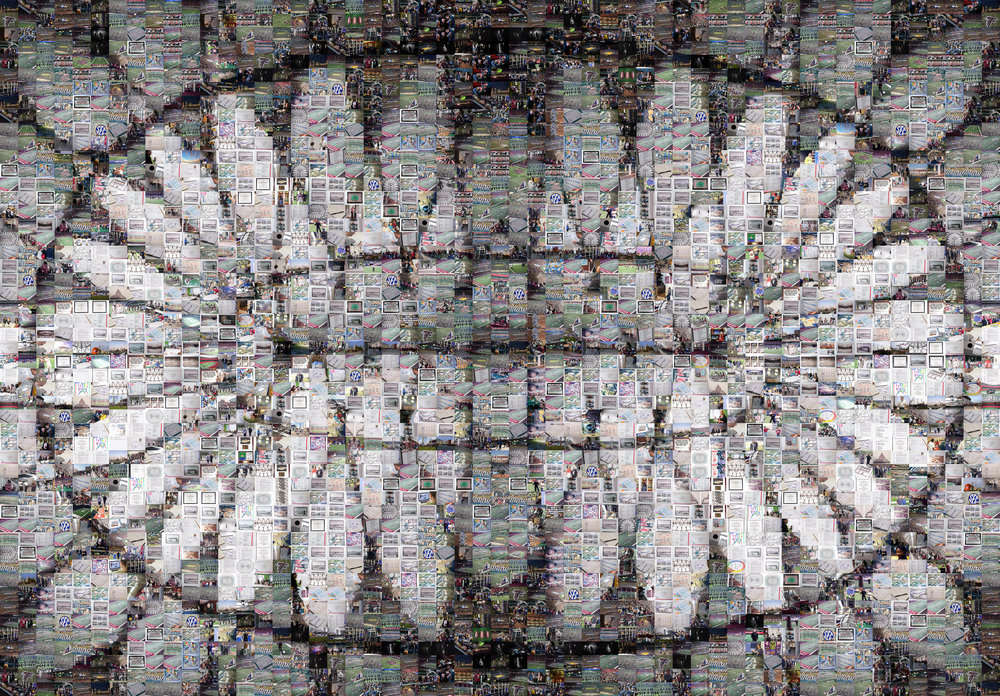 Using a high resolution capture, we created a large scale mosaic of the Georgia Dome's paneled ceiling. Each tile was a tag, ticket, pin, or other piece of memorabilia collected over the course of 25 years.