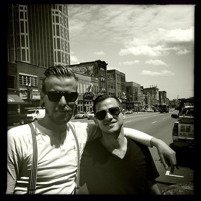 Downtown Nashville. Hanging out with my one of my best friend and bass player in #blindside @tomas_naslund