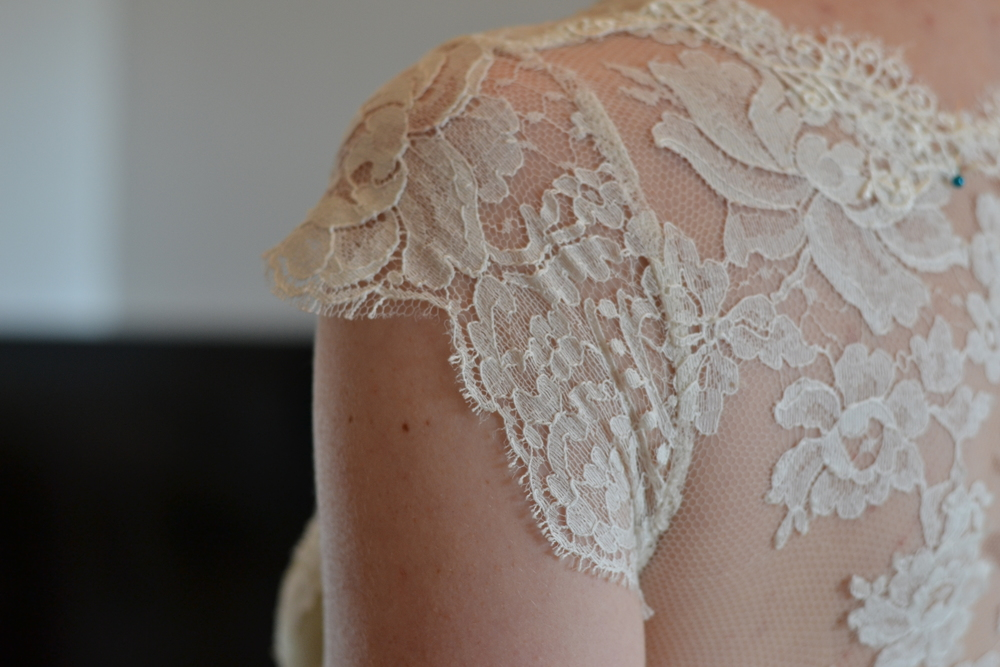 Delicate lace cap sleeve
