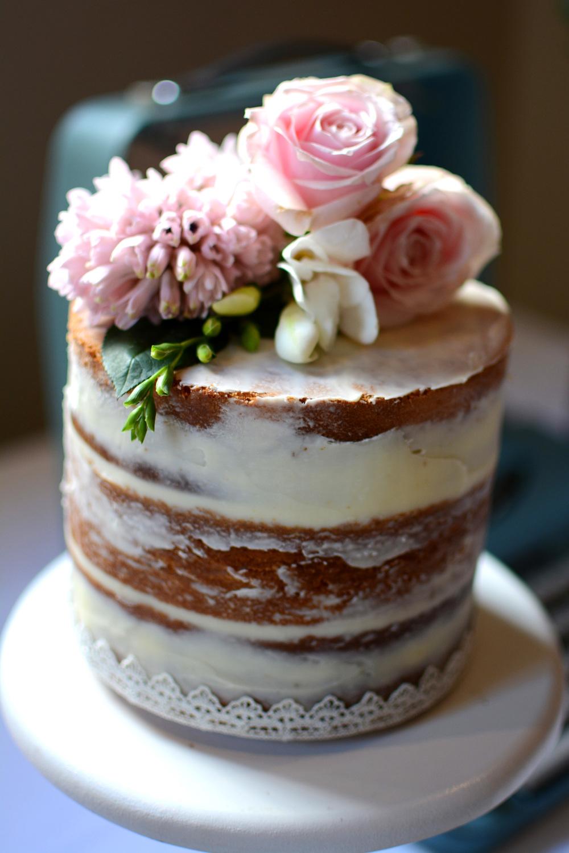 Renee Amp Michael Single Tier Semi Naked Cake Burnt Butter