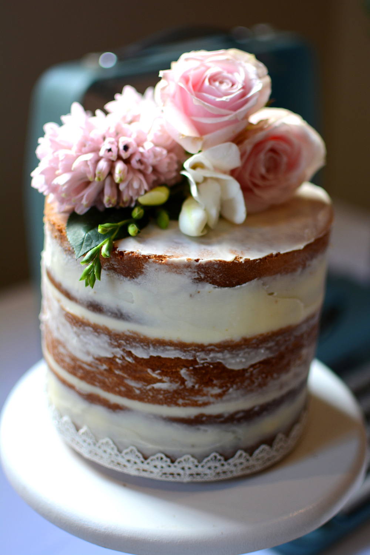 Renee & Michael Single Tier Semi Naked Cake — Burnt Butter ...